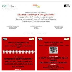 Gli eventi di Zero su Tre a Udine in occasione della giornata internazionale contro la violenza sulle donne